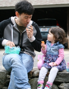 Zoe (age 2) and Daddy, my son