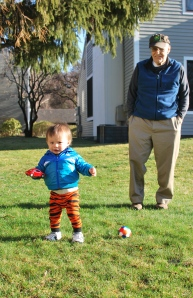 Sean and Great-Grandpa... playing in the apple orchard