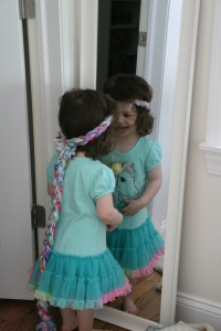 Zoe likes her Rapunzel wig.
